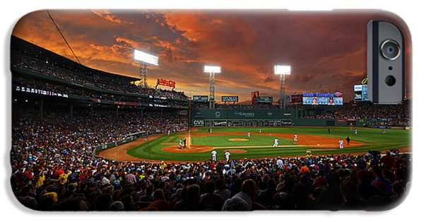 Boston Red Sox iPhone Cases - Storm clouds over Fenway Park iPhone Case by Toby McGuire