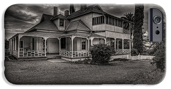 White House Pyrography iPhone Cases - Storm Clouds over Old House iPhone Case by Rick Strobaugh