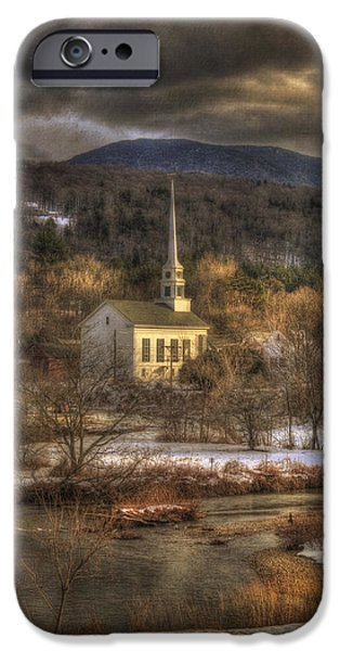 New England Snow Scene iPhone Cases - Storm Clouds over White Church - Stowe Vermont iPhone Case by Joann Vitali