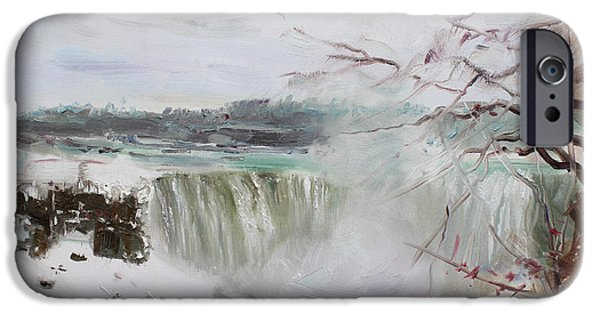 Storm Paintings iPhone Cases - Storm in Niagara Falls  iPhone Case by Ylli Haruni