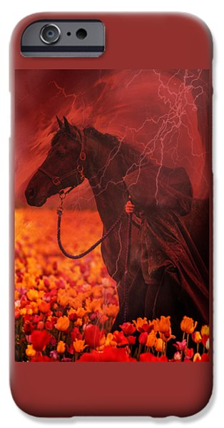 The Horse iPhone Cases - Storm In The Tulips D4553 iPhone Case by Wes and Dotty Weber