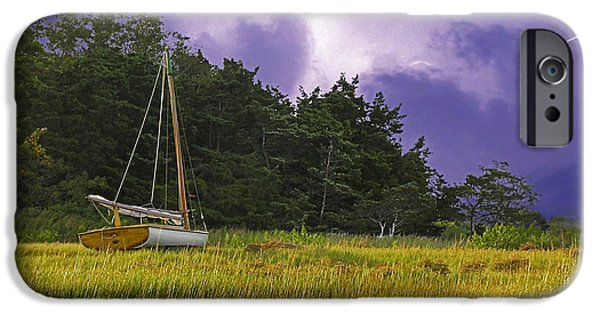 Storm Clouds Cape Cod iPhone Cases - Storm Over Knotts Island iPhone Case by Charles Harden