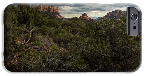 Sedona Pyrography iPhone Cases - Storm over Red Rock Buttes iPhone Case by Rick Strobaugh