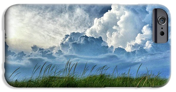 Beach Landscape iPhone Cases - Storm over the Dunes iPhone Case by Carolyn Derstine