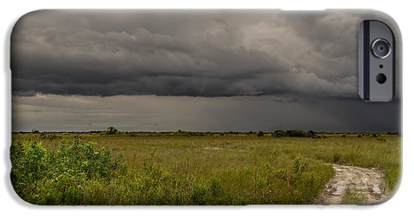 Raining iPhone Cases - Storm Over the Everglades-2 iPhone Case by Rudy Umans
