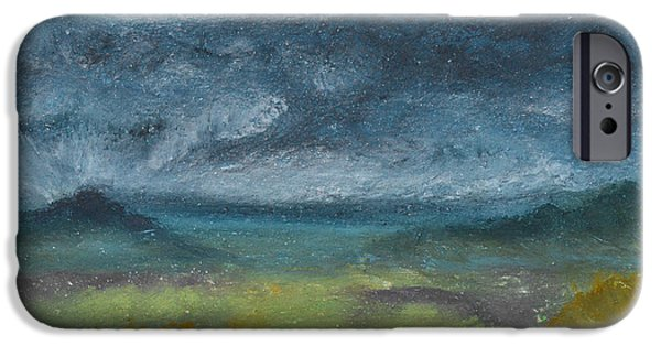 Clouds Pastels iPhone Cases - Storm Over Yonder Sea iPhone Case by Donna Blackhall