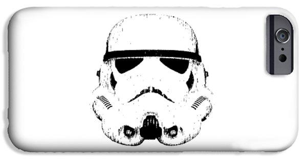 Stars Drawings iPhone Cases - Stormtrooper Helmet Star Wars Tee Black Ink iPhone Case by Edward Fielding