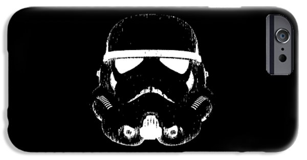Stars Drawings iPhone Cases - Stormtrooper Helmet Star Wars Tee iPhone Case by Edward Fielding