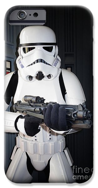 War iPhone Cases - Stormtrooper iPhone Case by Nina Prommer