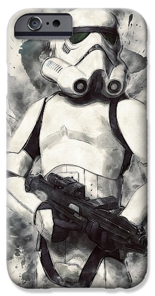 Character Portraits Digital Art iPhone Cases - Stormtrooper iPhone Case by Taylan Soyturk
