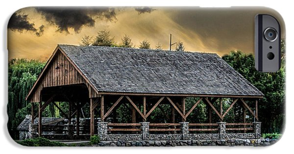 Covered Bridge iPhone Cases - Stormy Bridge iPhone Case by Ann Day
