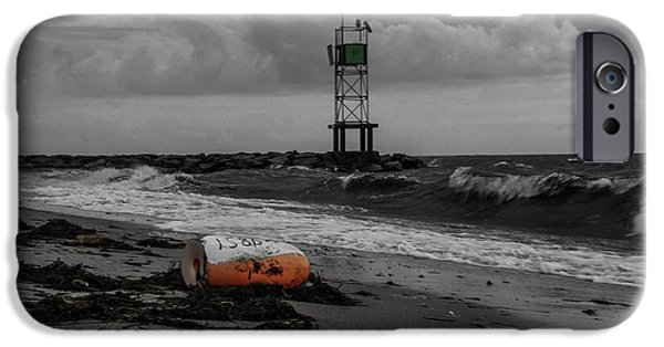 Storm Clouds Cape Cod Photographs iPhone Cases - Stormy Day At Smugglers Beach iPhone Case by Laura Ragosta