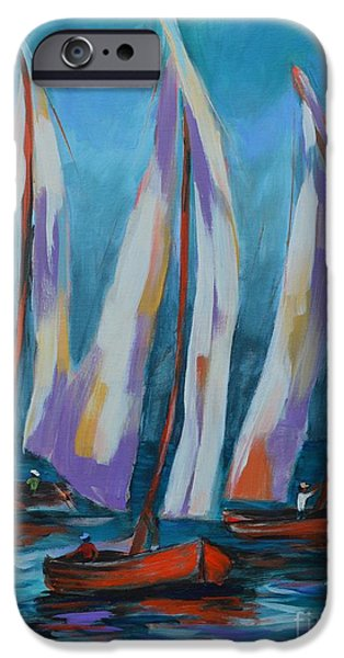 Sailboat Ocean iPhone Cases - Stormy Day iPhone Case by Lynn Rattray