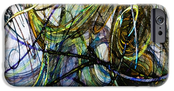 Contemporary Abstract iPhone Cases - Stormy Monday Blues iPhone Case by Karin Kuhlmann