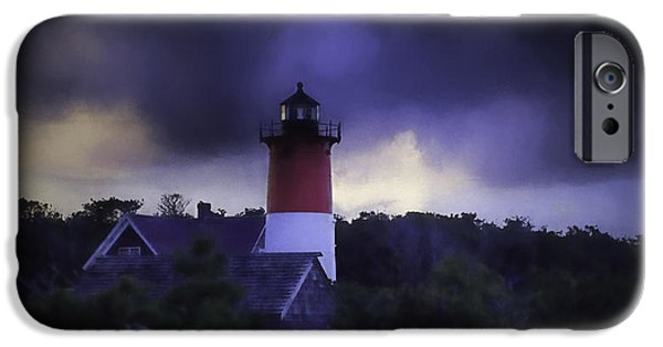 Storm Clouds Cape Cod iPhone Cases - Stormy Nauset Light  iPhone Case by Kate Hannon