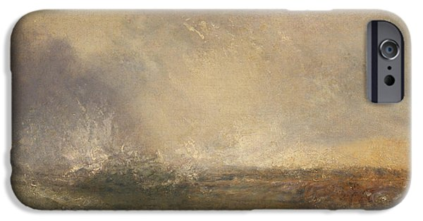 Nature Study Paintings iPhone Cases - Stormy Sea Breaking On A Shore iPhone Case by William Turner