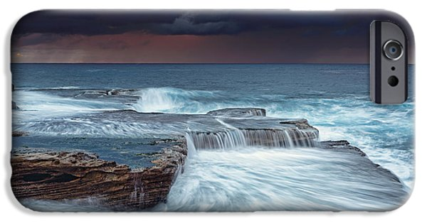 Turbulent Skies iPhone Cases - Stormy skies at sunrise iPhone Case by Leah-Anne Thompson