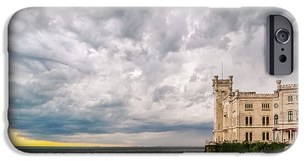 Turbulent Skies iPhone Cases - Stormy sky above the Miramare Castle in Trieste iPhone Case by Roberto Lo Savio