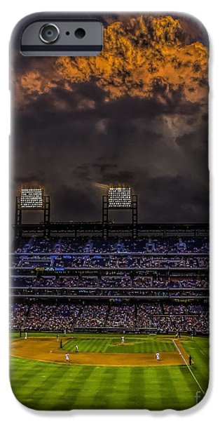 Pennsylvania Baseball Parks iPhone Cases - Stormy Sunset at the Baseball Game iPhone Case by Nick Zelinsky