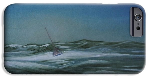 Sailboat Ocean iPhone Cases - Stormy Weather iPhone Case by Fiona Dinali