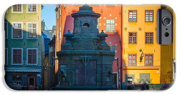 Facade iPhone Cases - Stortorget Fountain iPhone Case by Inge Johnsson