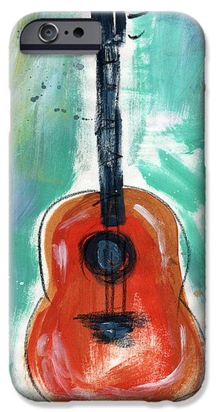Red Rock Mixed Media iPhone Cases - Storytellers Guitar iPhone Case by Linda Woods