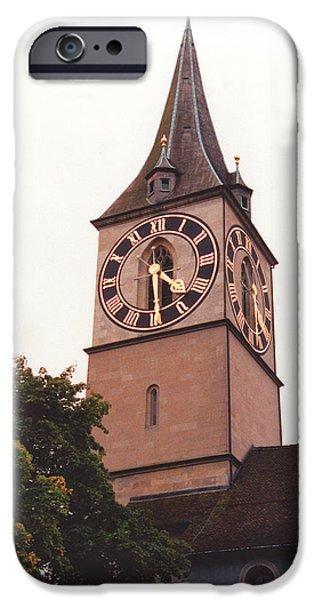Reform iPhone Cases - St.Peter Church Clock in Zurich Switzerland iPhone Case by Susanne Van Hulst