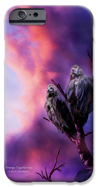 Vulture iPhone Cases - Strange Togetherness iPhone Case by Carol Cavalaris