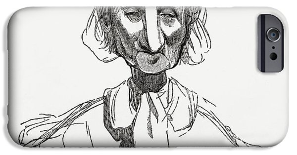 Caricature Drawings iPhone Cases - Strasbourgeoise, After Awork By Gustave iPhone Case by Ken Welsh