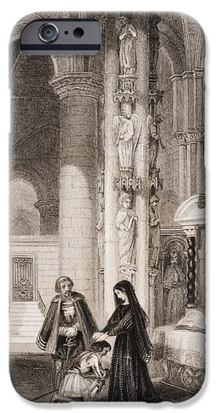 Mist Drawings iPhone Cases - Strasburg Cathedral, Margaret Of Anjou iPhone Case by Ken Welsh