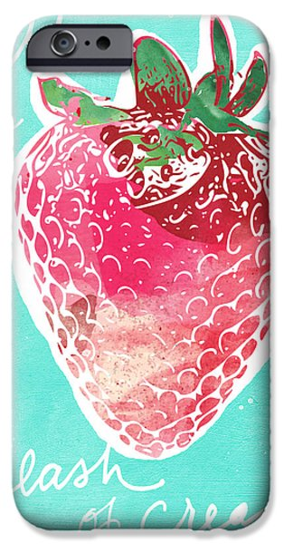 Strawberry iPhone Cases - Strawberries and Cream iPhone Case by Linda Woods