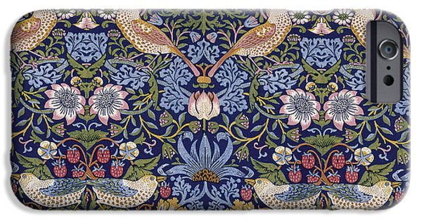 Animals Tapestries - Textiles iPhone Cases - Strawberry Thief iPhone Case by William Morris
