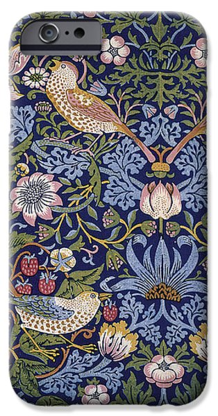 Wallpaper Tapestries - Textiles iPhone Cases - Strawberry Thief iPhone Case by William Morris