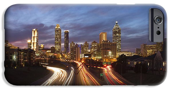 Bank Of America iPhone Cases - Streaking To and From Atlanta Night Lights Sunset iPhone Case by Reid Callaway