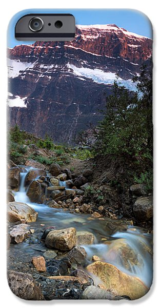 Angel Blues iPhone Cases - Stream and Mt. Edith Cavell at Sunset iPhone Case by Cale Best
