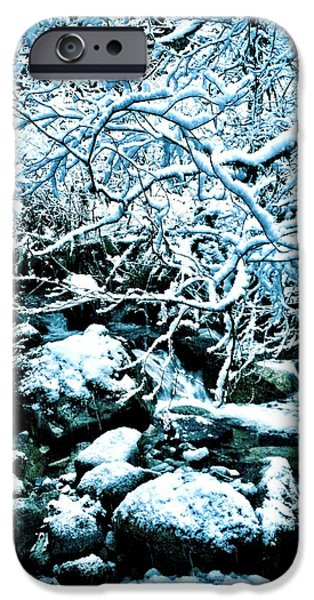 Snow iPhone Cases - Stream in Winter iPhone Case by Kat J