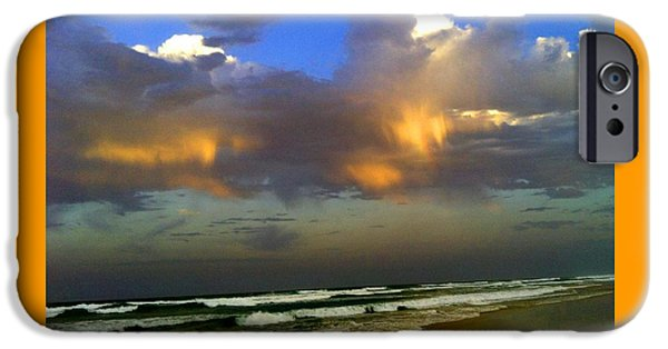 Abstract Expressionist iPhone Cases - Streched Beach and Rainbow Clouds H B iPhone Case by Gert J Rheeders