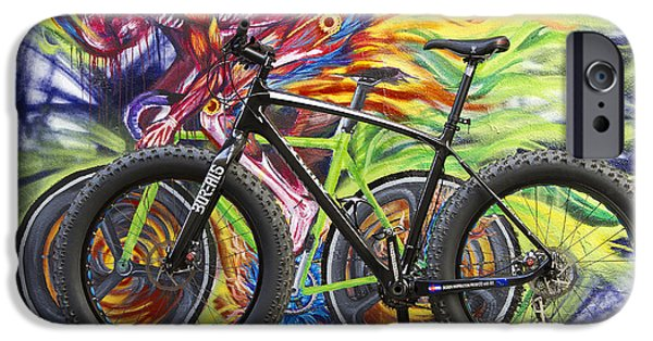 Fat Tire iPhone Cases - Street graffiti rider iPhone Case by Bryan Keil