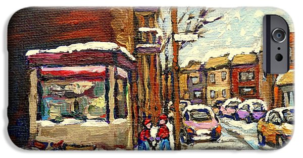 Hockey Paintings iPhone Cases - Street Hockey Corner Verdun Depanneur Urban Winter Paintings Best Authentic Original Montreal Art  iPhone Case by Carole Spandau