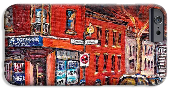 Hockey Paintings iPhone Cases - Street Hockey Night Scene Painting 4 Saisons Depanneur Rue St Dominique And Pine Montreal Scene Art iPhone Case by Carole Spandau