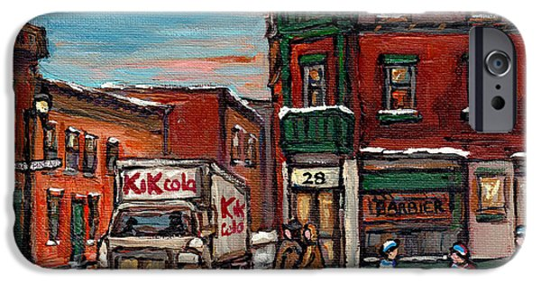 Hockey Paintings iPhone Cases - Street Hockey Painting Kik Cola Truck St Dominique And Pine Barber Shop Best Canadian Original Art   iPhone Case by Carole Spandau