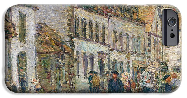 Childe iPhone Cases - Street in Pont Aven iPhone Case by Childe Hassam
