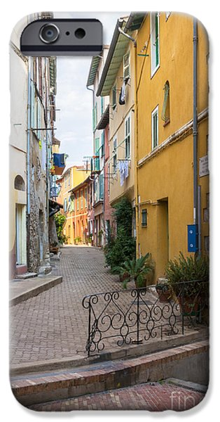 Village iPhone Cases - Street intersection in Villefranche-sur-Mer iPhone Case by Elena Elisseeva