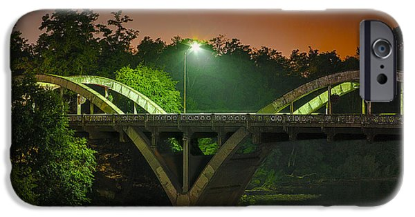 Night Lamp iPhone Cases - Street Light On Rogue River Bridge iPhone Case by Jerry Cowart