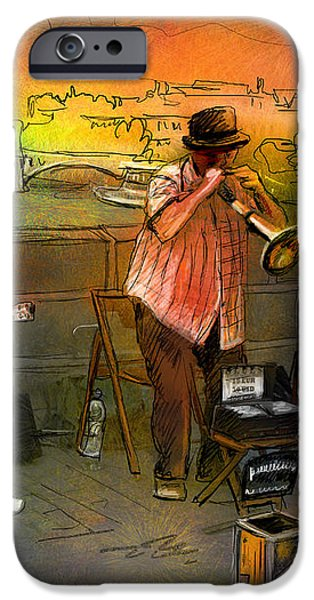 Street Musicians in Prague in the Czech Republic 03 iPhone Case by Miki De Goodaboom