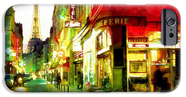 Night Angel iPhone Cases - Streets of Paris iPhone Case by Riccardo Zullian
