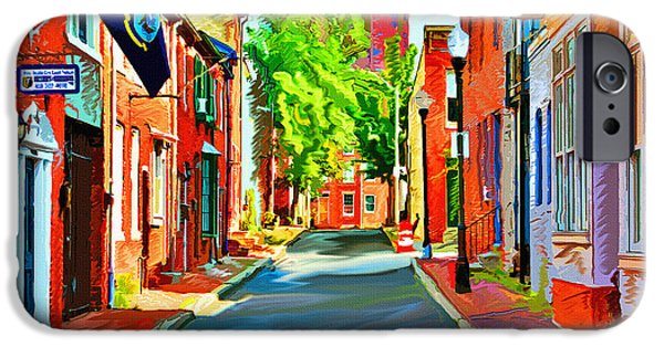 City Digital Art iPhone Cases - Streetscape in Federal Hill iPhone Case by Stephen Younts