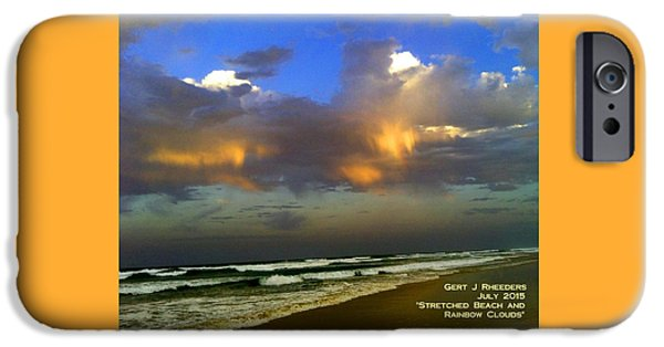 Abstract Expressionist iPhone Cases - Stretched Beach and Rainbow Clouds H A iPhone Case by Gert J Rheeders