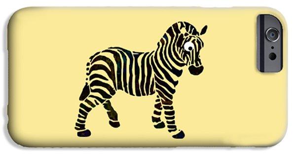 Zebra Digital iPhone Cases - Striped Zebra iPhone Case by Christina Rollo