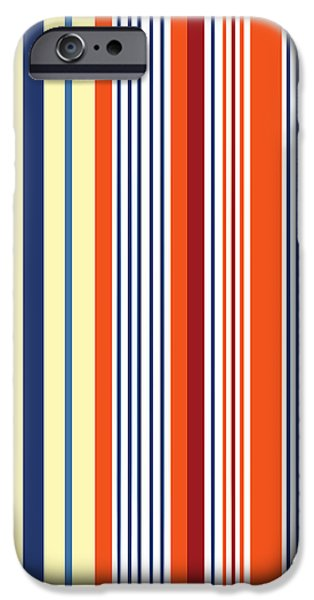 Lines Glass iPhone Cases - Stripes in Yellow and Blue and Orange Color iPhone Case by Jelena Ciric